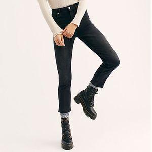 NWT free people mid rise slim-straight black jeans